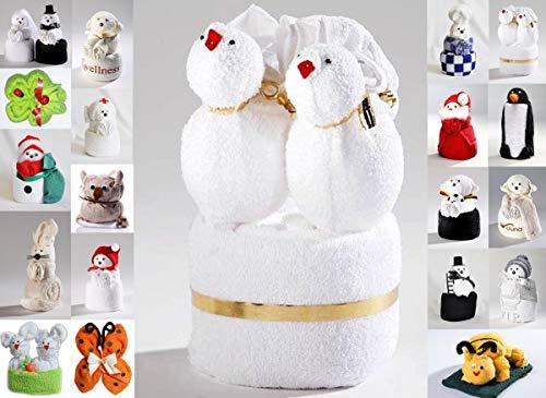 JACK Frottier Geschenk Set viele Modelle Handarbeit Origami Gästetuch Handtuch Waschhandschuh, Motiv/Art:Love Birds