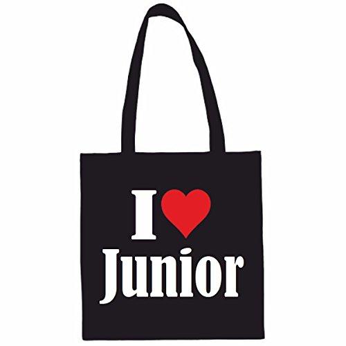 Sac à Bandoulière I Love Junior Shopping Bag Sac d'école Sac de Sport 38x 42cm en Noir ou Blanc.. Le cadeau parfait pour votre amoureux