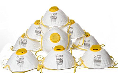10x Atemschutz Staubschutzmaske Maske mit Ventil FFP1 inkl.HEWADI® Sticker
