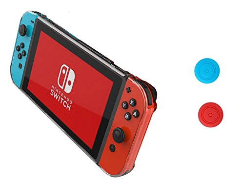 Nintendo Switch Case,Chickwin Antidérapant Transparent Clear Hard Back Cover Housse de Protection pour Nintendo Switch + 2 Bouchons Capuchons
