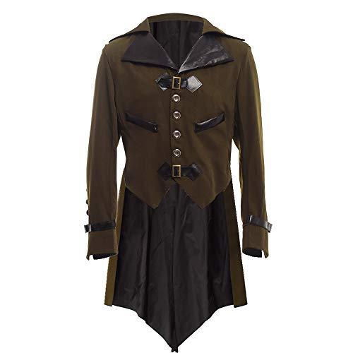 Viktorianischen Kostüm Piraten - BLESSUME gotisch viktorianisch Frack Steampunk VTG Mantel Jacke Halloween Cosplay Kostüm (XL, Armeegrün)