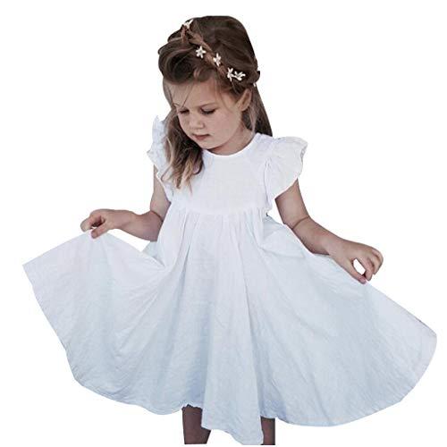 LEXUPE Kleinkind Kinder Baby Mädchen Leinen Rüschen Prinzessin Casual Beach Dress Outfits Kleidung(Weiß,80)