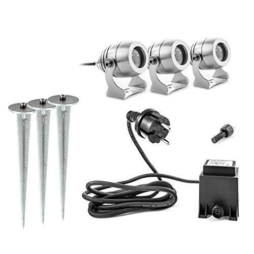 CLGarden Premium LED Gartenstrahler 3er Set Ledspl3 mit Erdspieß 12V Niedervolt System 12 Volt aus Aluminium Cnc Gefräst Warmweiss