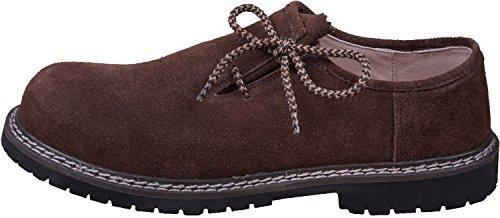 Almwerk Herren Trachtenschuh aus echtem Leder in verschiedenen Farben, Schuhgröße:EUR 45, Farbe:Dunkelbraun