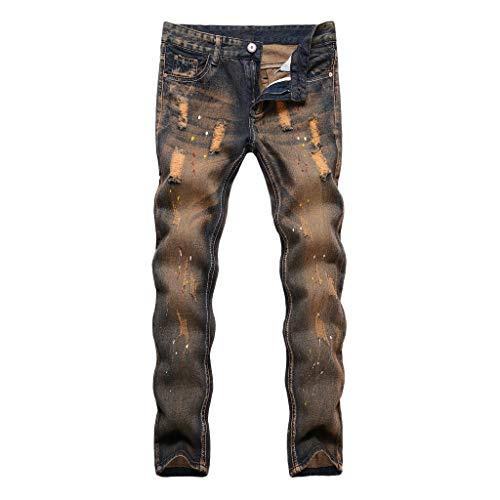HHyyq Herren Denim Slim Fit Used Design Jeans Model Denim Slim Fit Herren Jeans Used Design Model Lochspray-Jeans für Herren(Kaffee,28) -