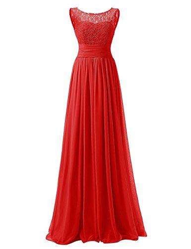 Carnivalprom Damen A-Linie langes Schnuerung Prinzessin Abendkleid Brautjungfer Cocktail Party kleid Rot