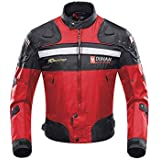 Chaqueta de motociclista resistente al agua para mujer WCJ-1834RED con protectores de alta calidad color negro y rojo