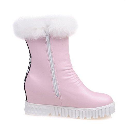 AalarDom Damen Rund Zehe Gemischte Farbe Mitte-Spitze Mittler Absatz Stiefel, Pink, 34