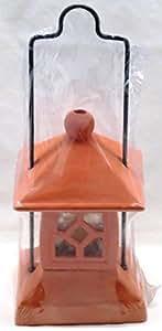 Außen-/Gartenlaterne aus Ton mit Kerze, 12,5 x 27,5 x 12,5 cm, mit Aufhängung