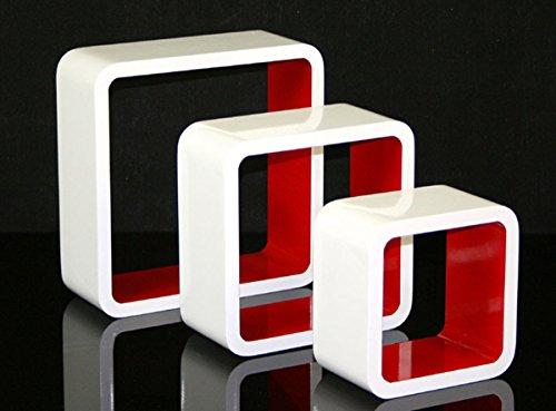 Étagères cube murale de 3 piéces coloris rouge et blanc -PEGANE-