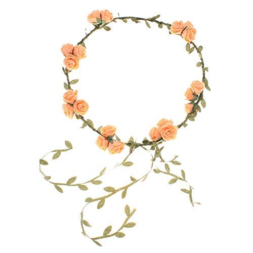 floristikvergleich.de Blumenstirnband Kopfband Kranz von Rosen Braut Brautjungfer Haarschmuck Blumen (orange)