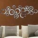 ETGtek(TM) 1set 3d cerchi dolci stile specchio smontabile della decalcomania di arte del vinile Wall Sticker Home Decor (argento)