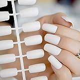 EchiQ weiß Squoval Matte mit Künstliche Fingernägel mit Top-froseted Braut mit künstlichen Nägeln für tägliches Tragen UNGHIE finte