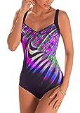 Aleumdr Femme Maillot de Bain 1 Pièce Chic Imprimé Coloré Brillant Monokini Vintage Amincissant Taille Haute Ventre Plat Dos Nu Push Up Rembourré Elastique Tankini S-XL