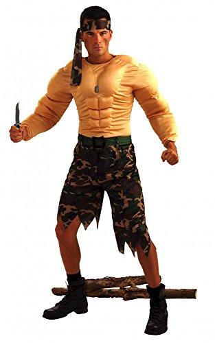 shoperama Kostüm Dschungel-Kämpfer mit Muskeln Gr. M