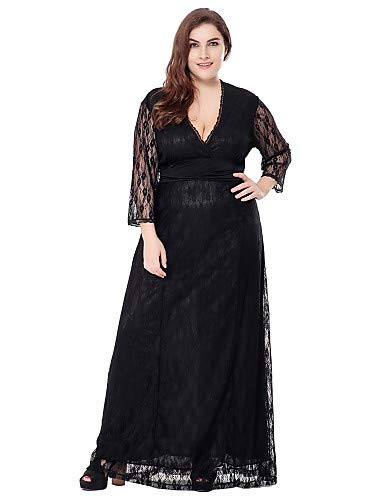 ize Sophisticated A-Linie Spitze Swing Kleid - Solid Colored Jacquard Schwarz, Lace Cut Out High Rise Maxi V-Ausschnitt, Schwarz, XXXXL ()