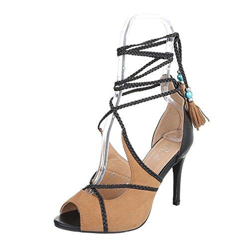 High Heel Sandaletten Damenschuhe Plateau Pfennig-/Stilettoabsatz High Heels Schnürsenkel Ital-Design Sandalen / Sandaletten Camel