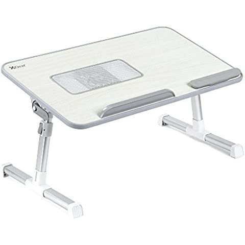 Mesa para Laptop con ventilador, ajustable, estante portatil para notebooks de hasta 15 pulgadas (gris)