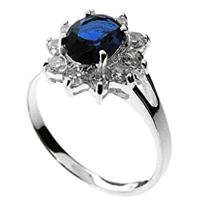 The William and Kate Ring in 925 Sterling Silver and Sapphire Blue and White Stones - UK Size O. Beautifully presented in a red gift box and organza bag.