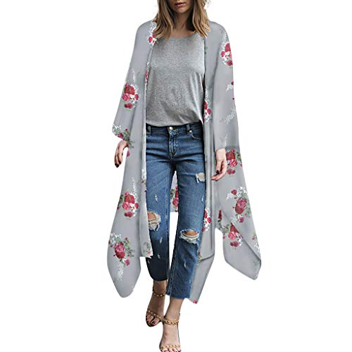 YunYoud Damen Große Größe Mantel Blumenmuster Chiffon Jacke Lose Schal Kimono Irregulär Strickjacke Tops Mode Beiläufig Outwear Jacket (Puffer-jacke Packable-frauen)