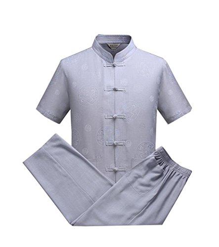 CHLXI Taiji Gu Shi Xia Tang Kurzarm-Anzug im mittleren Alter Retro-Leinen Hemd Schnalle Baumwolle und Leinen Freizeit chinesischen Stil - Baumwolle Kurzarm-anzug