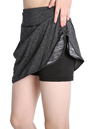 EAST HONG Women's Pocket Tennis Skort Running Workout Sport Golf Skirt with Inner Shorts