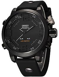 Eyotto pour homme Sports montre bracelet LED étanche militaire numérique montre analogique pour randonnée, course à pied, l'escalade, noir