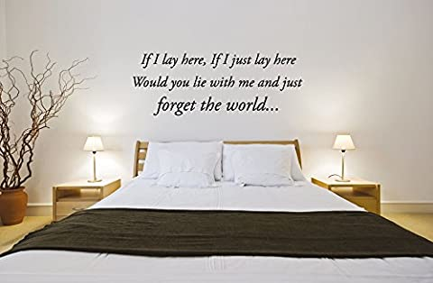 If I Lay Here Snow Patrol Song Lyrics Music Vinyl Wall Art Quote Sticker Decal Mural Transfer Stencil (Black)