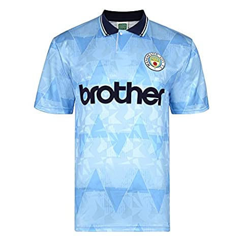 Official Retro Manchester City 1989 Retro Football Shirt 100% POLYESTER