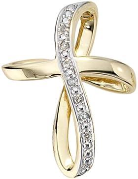 JOBO Anhänger Kreuz 585 Gold Gelbgold teilrhodiniert 7 Diamant-Brillanten 0,03ct.