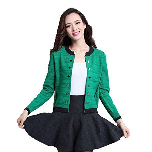 Vertvie Femme Knit Cardigan Gilet Court Bouton Décoration Décolleté Rond Tops Casual Vert