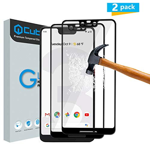 Cubevit Google Pixel 3 XL Screen Protector, [2 Pack] Full Coverage/Case Friendly/Bubble Free/Anti-Scratch/2.5D HD Tempered Glass Screen Protector Film for New Google Pixel 3 XL
