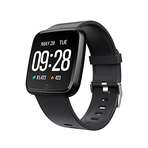 BZLine Bluetooth Smartwatch, Smart Watch Uhr Intelligente Armbanduhr Fitness Tracker Armband Sport Uhr Metall mit Herzfrequenz Farbe Bildschirm Schrittzähler für Android iOS Frauen Männer (Schwarz)