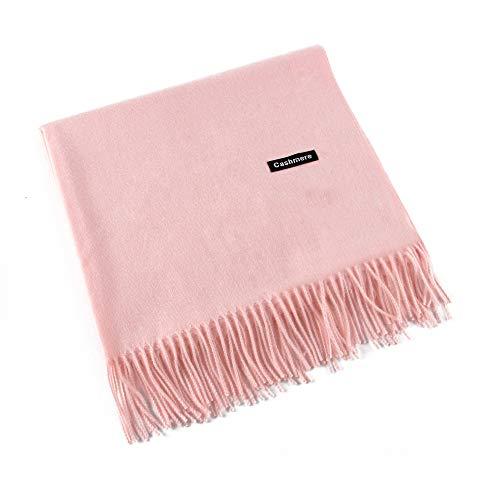 MMYOMI Frauen Männer Liebhaber Unisex glatt Kaschmir Schal 100% super weiche Plaid solide Pashmina Wrap Schal Schal (Rosa) -