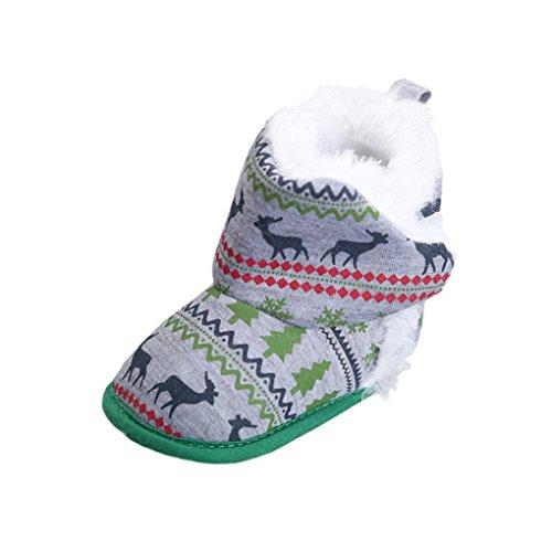 Ouneed® Krabbelschuhe , Baby Mädchen weiche Sole Krippe warme Weihnachtselche Ebenen Baumwollschuh Grün