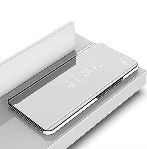 COVO® Oppo Realme 3 Hülle, Slim Smart Mirror Screen Cover & Ledertasche, Multifunktions Spiegel Fall Handyhülle für Oppo Realme 3-Silber