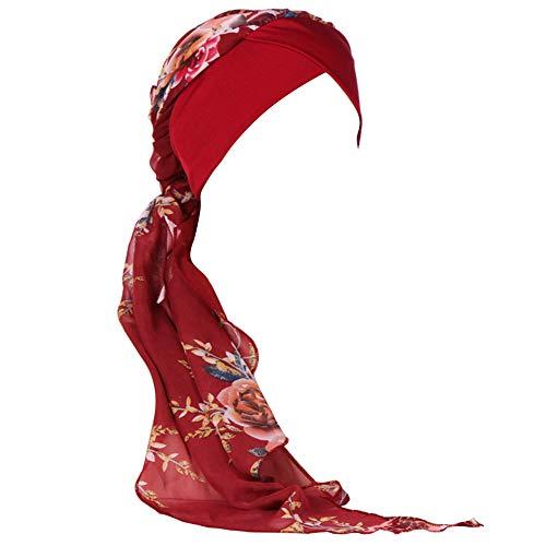 Amorar Chemotherapie Deckel, Mode Chiffon Chemo Schal Hut Turban Kopf Schals Pre-Tied Haarausfall Hut Elastische Headwear Kopftuch Hut für Krebs -