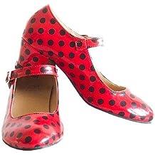 La Señorita Zapato Flamenco baile Sevillanas niña o mujer rojo negro