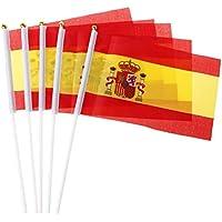 SimpleLife 5pcs Banderas Que agitan de la Mano española Banderas de la Cresta de España Deportes