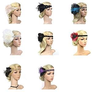 Damen Stirnband Vintage Stirnband 1920S Feder Stirnband Abendkleid Haarschmuck Strass Perlen Kopfschmuck One Size