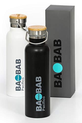 Pacifico  bottiglia termica in acciaio inox bpa free 600ml-ecosostenibile  devolve per la salvaguardia dell'ambiente  borraccia per tè caffè infusi acqua  mantiene le bevande calde o fredde per 8 ore