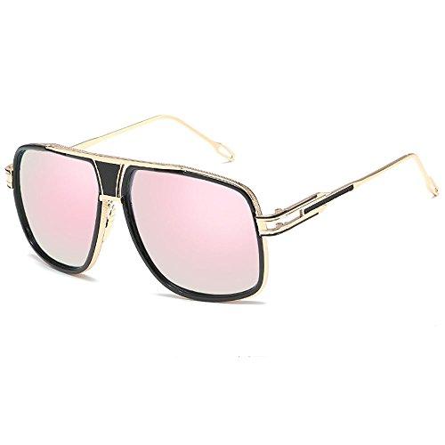 SHEEN KELLY Oversized Super Große Sonnenbrille Damen Großen Brille Square Piloten Retro Metall Rahmen für Herren Sonnenbrille Spiegel BRILLE Rosa