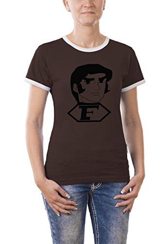 Touchlines Girlie Ringer T-Shirt Captain Future Bild, brown, S, B9089 (Ringer Bild T-shirt)