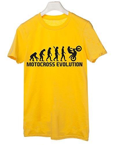 Tshirt Motocross Evolution - evolution - motocross- sport - humor - in cotone Giallo