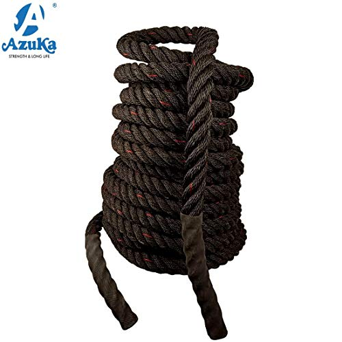 Azuka The Ultimate Fitness Battle Black PP Ropes with Red Tracer (1.5 x 50 ft)