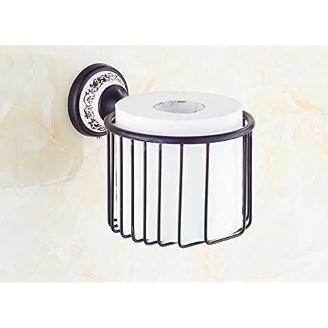 SBWYLT-Vintage papel higiénico estilo canasta oscuro papel toalla cesta metal colgantes de latón macizo volumen papelera percheros antiguos cestos redondos