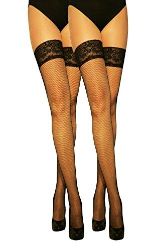 Marilyn modische halterlose Netz-Strümpfe mit Silicon-Haftband-Spitze (56HOLES), 2er Pack, 20 Denier, Größe 36/38 (S/M), Farbe je 2x schwarz -