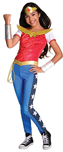 Official Girl's DC Comics Super Hero Deluxe Wonder Woman Costume - Three Sizes - Includes top, pants, belt with lasso, tiara and gauntlets