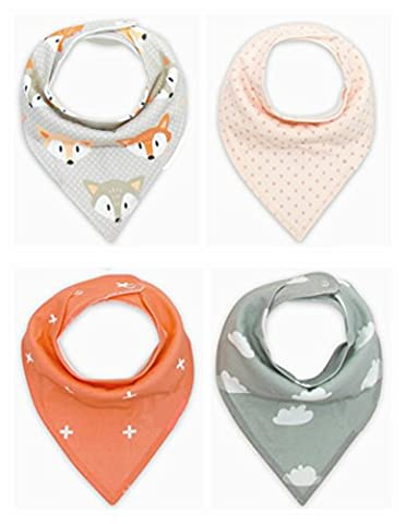 Kimming Toddler Infant Baby Bib 100% Cotton Absorbent Bandana Dribble