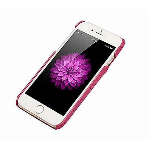 Coque iPhone 6 Levanpro Haute Qualité Bovins Cacher Alligator Grain en Cuir Housse Etui pour Phone 6 / iPhone 6s (Brun) Rouge